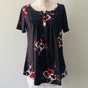 Floral/black top